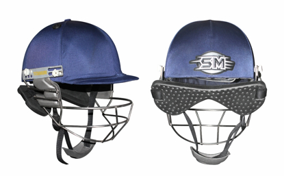 Image de SM Cricket Helmet PLAY ON - Titanium Grill - Navy